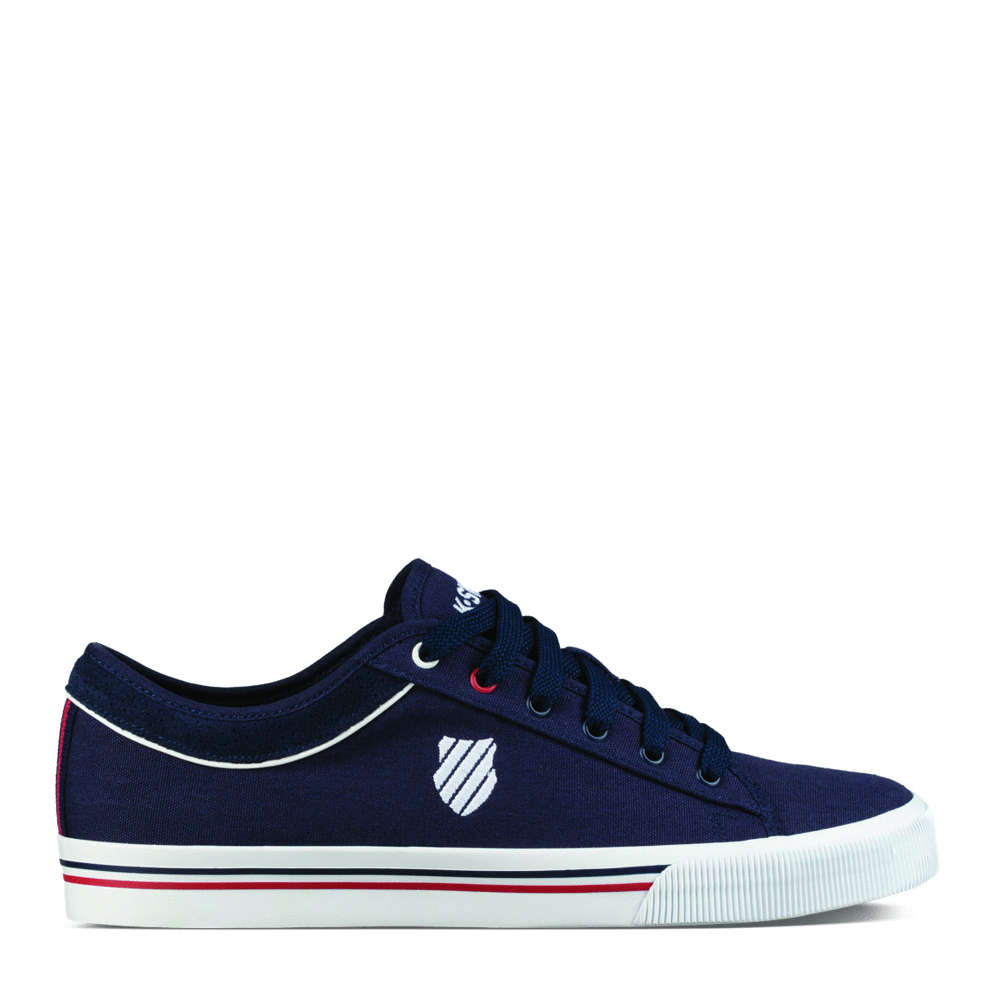 K-Swiss Mens Bridgeport II Canvas Casual Everyday Shoes in Navy//Red//White